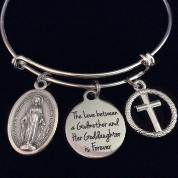 The Love Between a Godmother and Goddaughter is Forever Expandable Charm Bracelet Adjustable Bangle Gift Miraculous Mary Cross