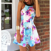 FASHION STRAPLESS PRINTING DRESS