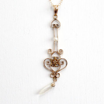 Antique 10k Yellow Gold Diamond & Pearl Ostby and Barton Necklace - Edwardian Early 1900s Lavalier Art Nouveau Pendant Fine Early Jewelry