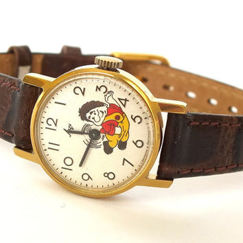 Kids watch LUCH (RAY). Girls watch with Soviet cartoon character Karlsson.  Vintage childrens wrist watch. Mechanical watch for kids