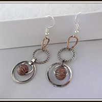 Rustic Silver and Copper Link Earrings, Metal Jewelry, Gift for Her