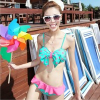 Sexy Cute Polka Dots Bowknot Ruffled Skirted Bikini Beach Swimwear Bathing Suit