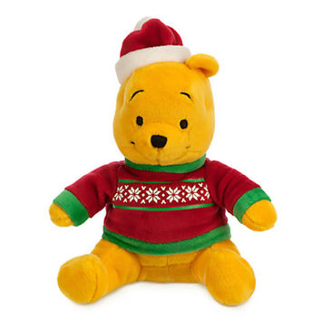 "disney store christmas holiday 7"" mini bean bag winnie the pooh plush new tags"