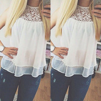 White Chiffon Lace Sleeveless Layered Blouse