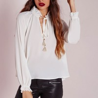 Missguided - Ruffle Collar Tie Blouse Ivory