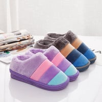 Winter Cotton Thicken Couple Stripes Anti-skid Slippers [9067739524]
