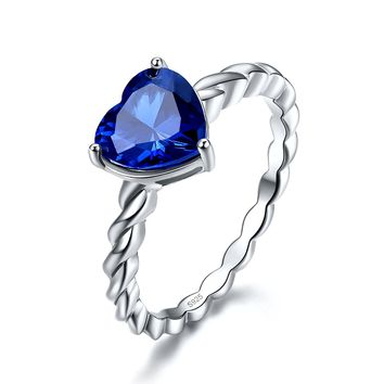Merthus 2.85ct Heart Shaped Created Blue Sapphire Silver Rope Band Ring for Women