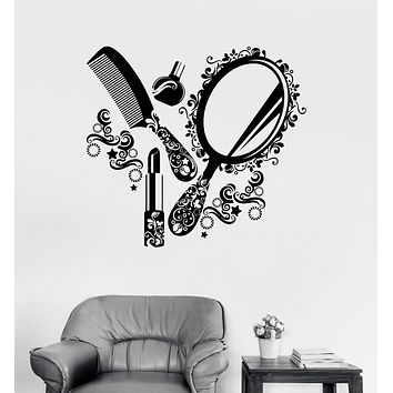 Wall Decal Beauty Salon Cosmetics Nails Makeup Woman Girl Vinyl Mural Unique Gift (ig2970)