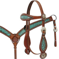 Saddles Tack Horse Supplies - ChickSaddlery.com Showman Filigree Inlay Headstall, Reins, Breast Collar Set With Flower Studs And Antique Conchos <>