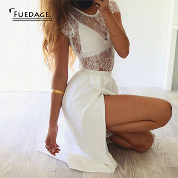 2017 summer new design 2 piece set sleeveless hollow out casual lace dress high split maxi dresses