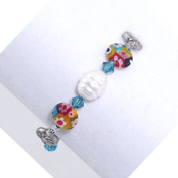 Single Pearl Bracelet – Millefiori Bead Memory Wire Wraparound Bangle – Silver Plated Cuff – Fun Colorful Jewelry – Birthday Present for Her