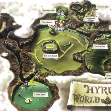 "42"" x 24"" HUGE Hyrule Zelda: Ocarina of Time World Map POSTER"