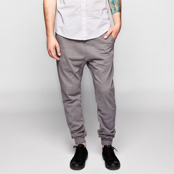 Charles And A Half Mens Twill Jogger Pants Grey  In Sizes