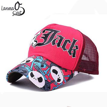Hot Sale Cotton Basecall Cap for Women With Skull Bone Printing Cool Sunbonnet Caps for Summer Mesh Sport Caps Free Shipping