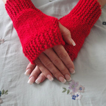Fingerless Horizontal Knitting gloves, Knit hand warmers, wrist warmers pattern
