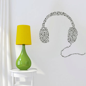 Wall Decal Vinyl Sticker Decals Headphones Music Notes Beats Audio Art Cord Relax (z2671)