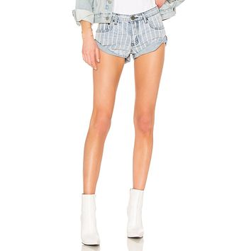 One Teaspoon Bandits Low Waist Denim Shorts Rocky Stripe