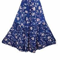 Mogul Interior Womens Full Flared Skirt Blue Floral Print Hippie Boho Skirts L: Amazon.ca: Clothing & Accessories
