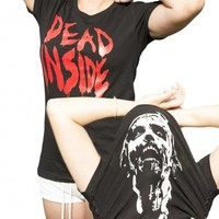 LeRage Shirts Women's DEAD INSIDE (Flip-Up Design) | The Walking Dead T-Shirt T-Shirt