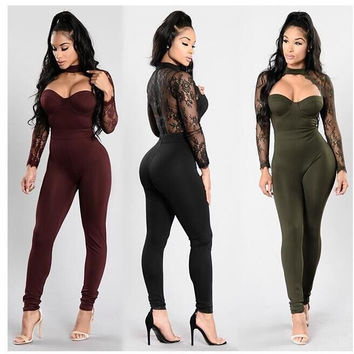 Summer Women Casual Fashion Elegant Slim Jumpsuit Women Long Sleeve Lace Back Hollow Out Jumpsuits Full Length Rompers