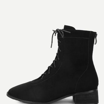 Lace Up Zipper Back Chunky Boots