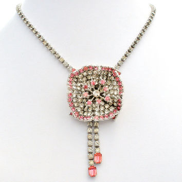 Flower Necklace, Pink Clear Rhinestones, Wedding Fashion, Rockabilly Glamour