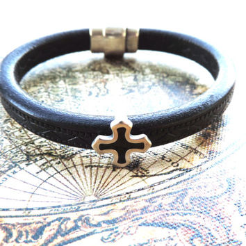 Leather Bracelet for Men - Made with Genuine Leather from Europe and Antique Silver Cross Bead