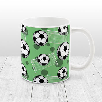 Green Soccer Mug - Sports Pattern with Soccer Balls and Goals over Green, Soccer Ball Mug - 11oz or 15oz - Made to Order