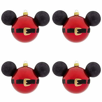 disney parks christmas ornament set santa mickey mouse icon new with box