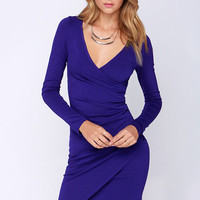 LULUS Exclusive Shakedown Royal Blue Long Sleeve Midi Dress