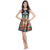 Hot Sale Vintage Print Vest Dress High Rise Slim Pleated Sleeveless One Piece Dress [6049063489]