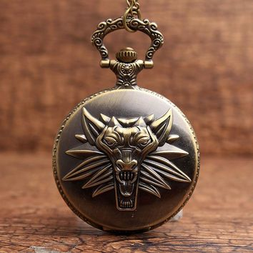 Hot Game The Witcher 3 Wild Hunt Quartz Pocket Watch Wolf Headmen Analog Pendant Necklace  Men Women Gifts Relogio De Bolso