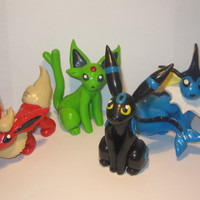 SPRING CLEARANCE! Pokemon Inspired Eeveeltion Models - Vaporeon, Flareon, Shiny Umbreon and Shiny Espeon!