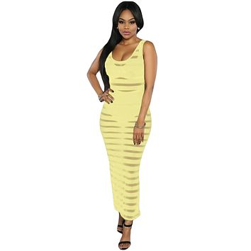 Yellow Sheer Stripes Sleeveless Maxi Dress