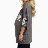 Chracoal-Striped-Sleeve-Maternity-Top