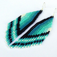 Beaded Earrings. Native American Earrings Inspired. Ombre Earrings. Mint, Blue, White, Black,Teal Earrings. Beadwork