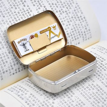1 X Pocket Size Metal Tobacco Box ( 100*65MM) Cigarettes Case Tobacco Storage Case For 70MM Papers Holder Tobacco Tin Portable