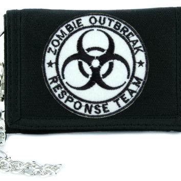 Zombie Outbreak Response Team Tri-fold Wallet with Chain