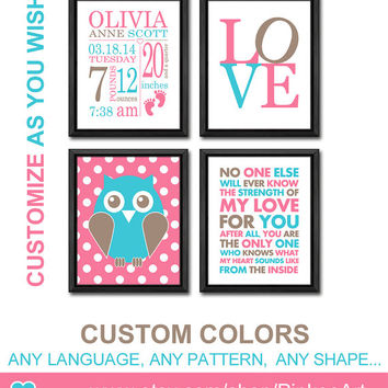 new baby prints for baby girl baby birth print owl baby decor birth stats baby stats nursery birth art birth announcement gifts birth sign