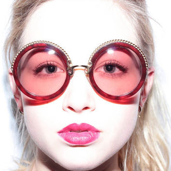 Christian Lacroix Vintage Sunglasses 7302 - Large round sunglasses - dark red and gold detailing - amazing condition - beautifully made