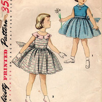 Vintage 1950s Sewing Pattern Toddler Girls Holiday Party Tea Dress Full Skirt Sleeveless Bow Waist Size 4