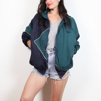 Vintage 1980s REEBOK Windbreaker Jacket Navy Blue Green White Piping Athletic Bomber Jacket Sporty Girl Warm Up Track Coat L XL Extra Large