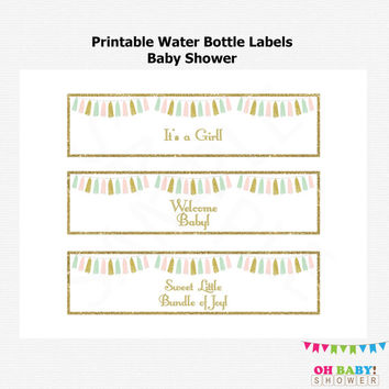Water Bottle Labels Baby Shower, Pink Mint Gold Baby Shower, Tassels, Baby Girl, Printable Water Bottle Labels, Instant Download, TASPMG