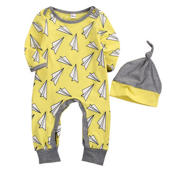 2PCS/ Paper Airplane Romper Jumpsuit+ Bonnet Outfit Set for NB Boys