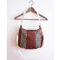 Brown cordura purse greek labyrinth pattern black white medium crossbody purse handbag shoulder bag crossbody bag