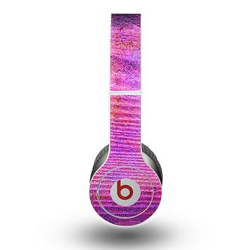 The Neon Pink Dyed Wood Grain Skin for the Beats by Dre Original Solo-Solo HD Headphones