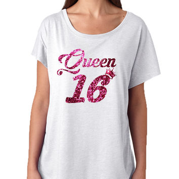 Women's Dolman Queen 16 Glitter Pink Sweet Sixteen Party Shirt