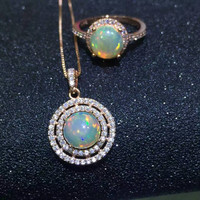 Certified Prismatic 5ct Natural Opal jewelry 925 solid sterling silver