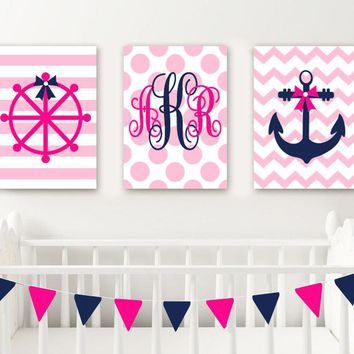 Girl NAUTICAL Nursery Wall Decor, Baby Girl Nautical Nursery Wall Art, Girl NAUTICAL Monogram Art, CANVAS or Print, Anchor Wheel, Set of 3
