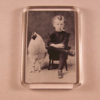 Fridge Magnet Odd Little Boy Smoking Cigarette with Chicken Vintage Picture Kitsch Retro